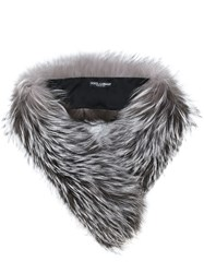 Dolce And Gabbana Fur Stole Silk Fox Fur Grey