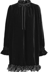 Mother Of Pearl Lucille Ruffled Velvet Mini Dress Black