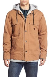 Men's Billabong 'Barlow' Hooded And Lined Canvas Workwear Jacket Dark Carmel