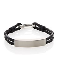 Lotus Leather And Stainless Steel Two Strand Braided Bracelet Silver Black