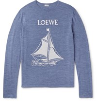 Loewe Jacquard Knit Wool Sweater Blue
