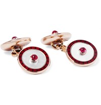 Deakin And Francis 18 Karat Gold Mother Of Pearl Ruby Enamel Cufflinks Red
