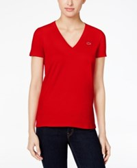 Lacoste V Neck T Shirt 240Red