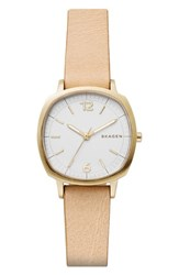 Skagen Women's Rungsted Leather Strap Watch 30Mm Nude White Gold