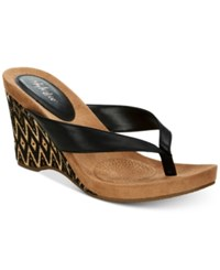 Styleandco. Style Co Chicklet Wedge Thong Sandals Created For Macy's Women's Shoes Black Tribal Wrap