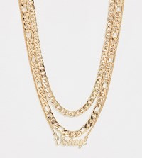 Reclaimed Vintage Inspired Chain Multirow Necklace With Logo Pendant Gold