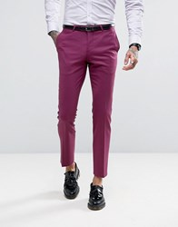 Noose And Monkey Super Skinny Suit Trousers Dark Pink