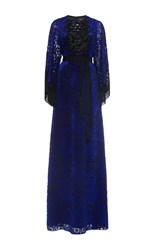 Andrew Gn Fringe Sleeve Gown With Beads Blue