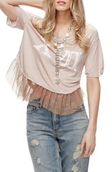 Free People Women's Pretty In Punk Tulle Tee