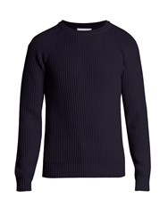 Ami Alexandre Mattiussi Ribbed Knit Cotton Sweater Navy