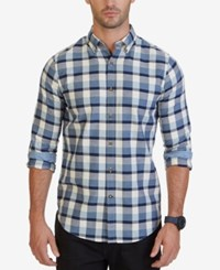 Nautica Men's Seedpearl Plaid Shirt Anchor Blue