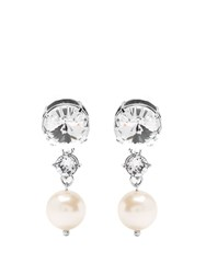 Miu Miu Faux Pearl And Crystal Clip On Earrings