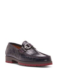 Donald J Pliner Lelio Crocodile Embossed Leather Loafers Navy