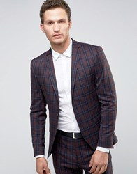 Selected Homme Super Skinny Suit Jacket In Check Burgundy Red