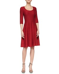 Nic Zoe Twirl 3 4 Sleeve Knit Fit And Flare Dress Rio Red
