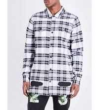 Off White C O Virgil Abloh Spray Effect Check Print Cotton Shirt All Over Blue