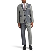 Thom Browne Classic Patchwork Wool Mohair Three Button Suit Gray