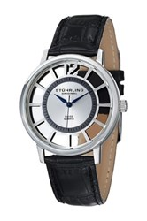 Stuhrling Men's Winchester Del Sol Alligator Embossed Leather Strap Watch Metallic