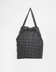 Asos Nylon Grid Print Shopper With Clasp And Backpack Strap Mono
