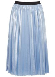 Pinko Light Blue Plisse Lame Skirt