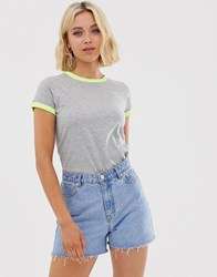 Brave Soul Claudia T Shirt With Contrast Neon Trim Grey
