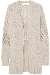 2f70aee8e2359 Iro Air Cable Knit Wool Blend Cardigan Beige