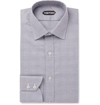 Tom Ford Grey Slim Fit Prince Of Wales Checked Cotton Shirt Gray