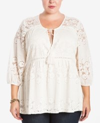 Eyeshadow Trendy Plus Size Lace Peasant Top Pristine