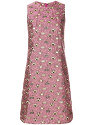Femme By Michele Rossi Sleeveless Jacquard Mini Dress Pink And Purple