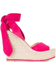 Paul Andrew Wedge Sandals Pink Purple
