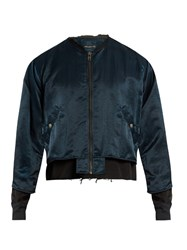 Longjourney Distressed Satin Bomber Jacket Navy Multi