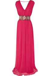 Antik Batik Rosy Bead Embellished Silk Maxi Dress Pink