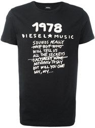 Diesel Slogan Print T Shirt Black