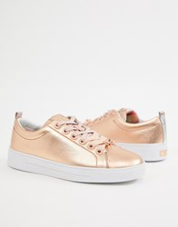 Ted Baker Leather Lace Up Trainers Gold