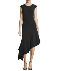 Milly Cap Sleeve Asymmetric Midi Dress Black