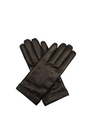 Gucci Signature Leather Gg Debossed Gloves Black