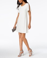 Msk Imitation Pearl Split Sleeve Shift Dress Ivory