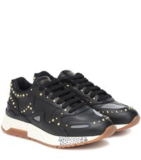 Versace Achilles Leather Sneakers Black