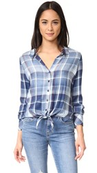Bella Dahl Tie Front Button Down Top Bastille Wash