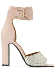 Via Roma 15 Ankle Strap Snakeskin Effect Sandals Pink And Purple