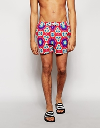 Asos Swim Shorts With Tie Dye In Short Length Red