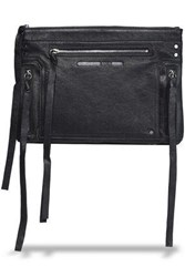 Mcq By Alexander Mcqueen Loveless Fringed Brushed Leather Pouch Black