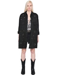 Faith Connexion Crystal Studded Cotton Canvas Jacket