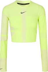 Nike Tech Pack 2.0 Run Cropped Neon Stretch Top Bright Yellow