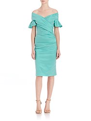 Teri Jon Off The Shoulder Ruffle Sleeve Dress Jade