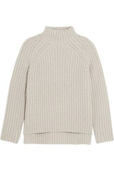 Theory Ribbed Wool Blend Turtleneck Sweater Light Gray
