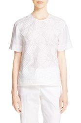 Dkny Embroidered Voile Shirt White