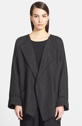 Eskandar Textured Knit Open Front Jacket Coal