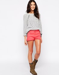 Brave Soul Denim Shorts With Turn Up Cuff Red