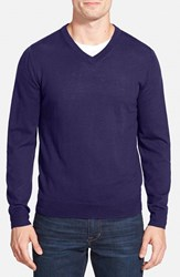 Men's Big And Tall Nordstrom Merino Wool V Neck Sweater Navy Peacoat